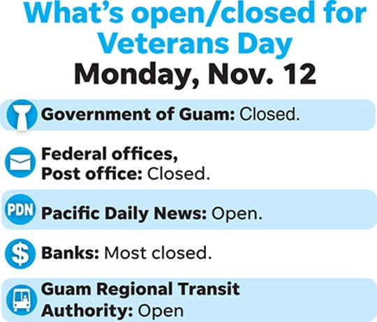 What's open, closed Veterans Day 2018