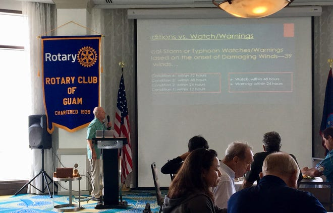 Chip Guard, Warning Coordination Meteorologist, speaks to Rotary Club of Guam