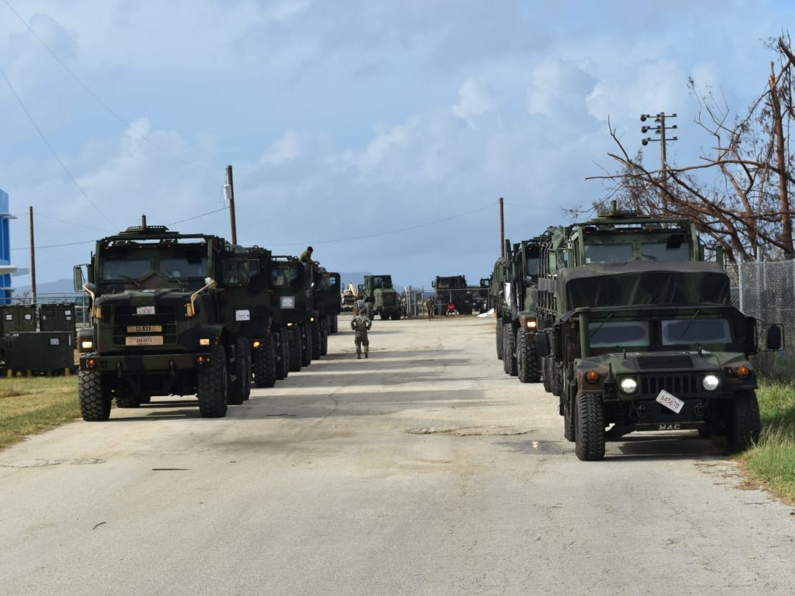 Military aids in relief efforts after Super Typhoon Yutu.