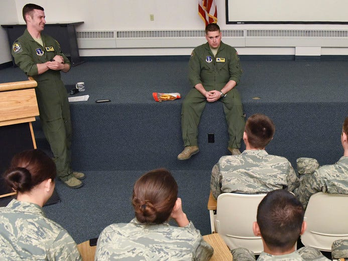 Air Force Junior Reserve Officer Training Cadets from North Pole High School, North Pole, Alaska, receive pre-flight briefings from Capt. John Goeres and Master Sgt. Chris Willey prior to the cadets incentive flight onboard one of the 168th Wing's KC-135R Stratotankers, May 4, 2017, Eielson AFB, Alaska. The flight was coordinated through the wing's recruiting office and the school's AFJROTC instructor, retired U.S. Air Force Colonel Michael Rauenhorst, and is taking place during joint training exercise NORTHERN EDGE 2017. (U.S. Air National Guard photo by Senior Master Sgt. Paul Mann)