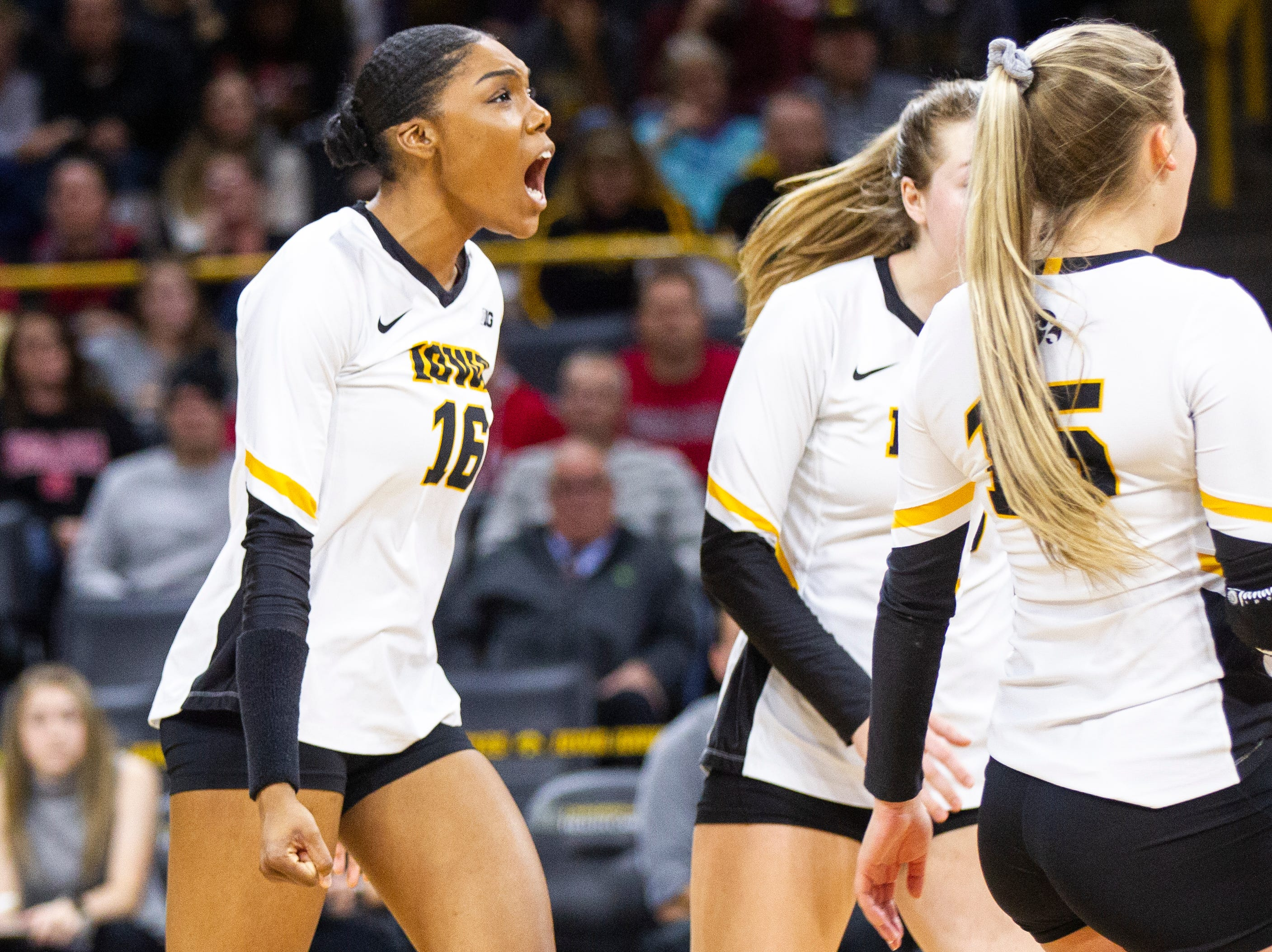 Iowa outside hitter Taylor Louis (16) celebrates a point during an NCAA volleyball game on Wednesday, Nov. 7, 2018, at Carver-Hawkeye Arena in Iowa City.