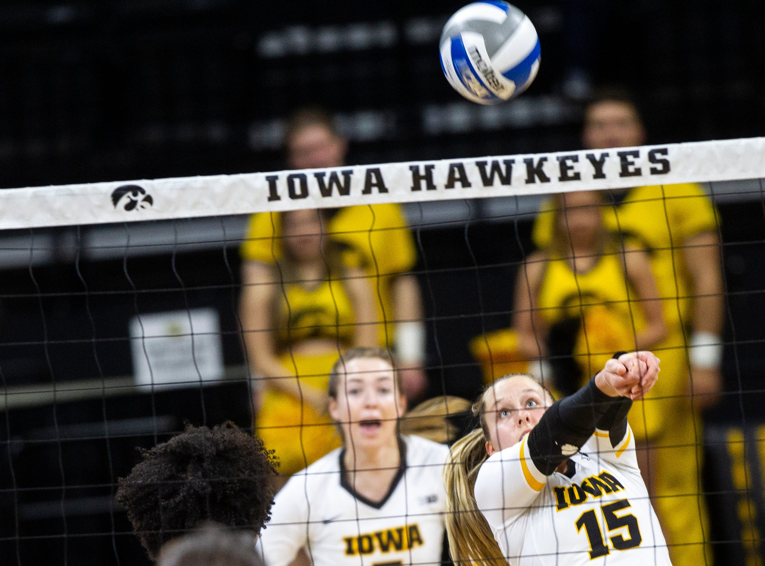 Iowa defensive specialist Maddie Slagle (15) makes a save during an NCAA volleyball game on Wednesday, Nov. 7, 2018, at Carver-Hawkeye Arena in Iowa City.