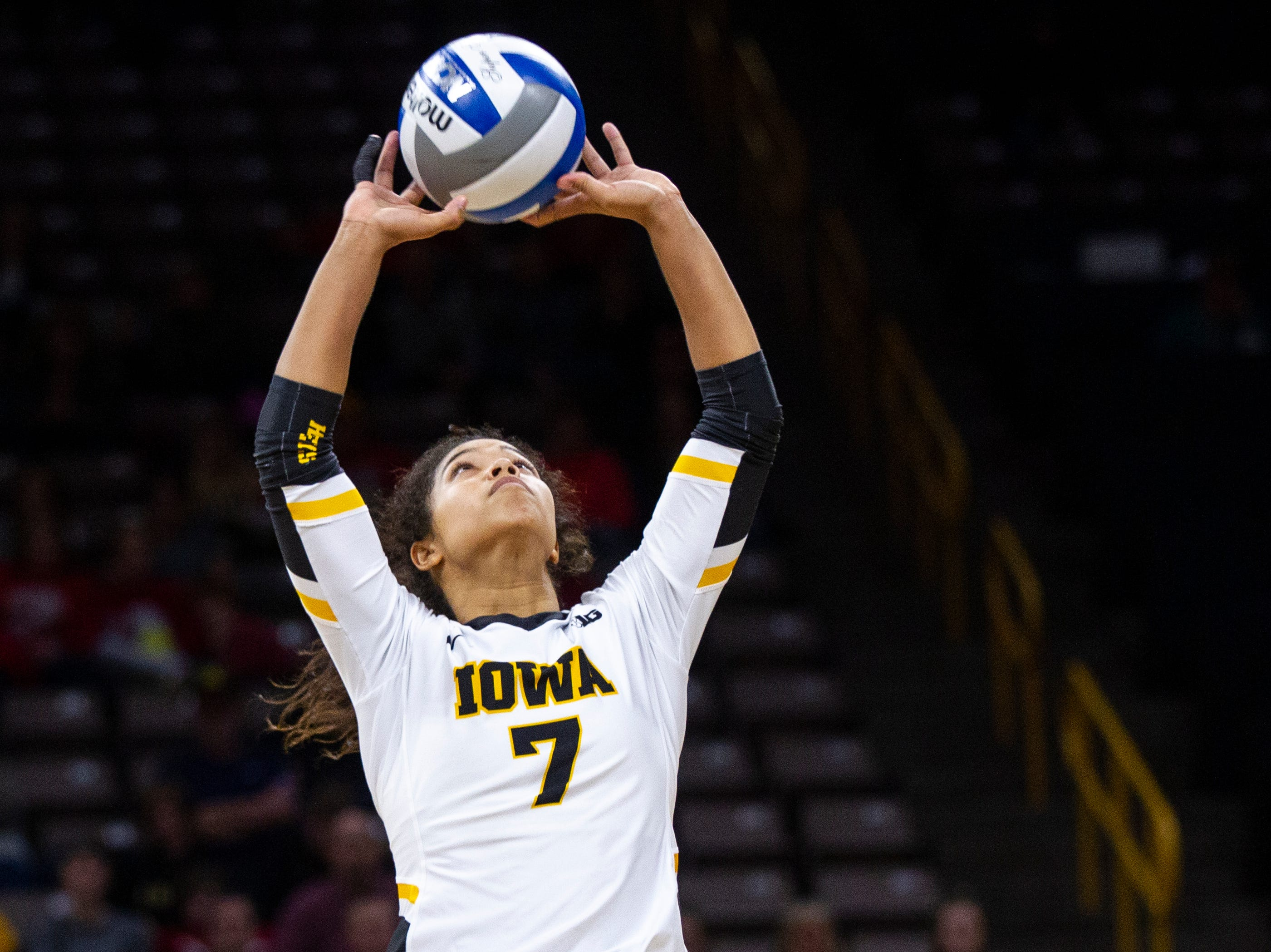Iowa setter Brie Orr (7) sets a ball during an NCAA volleyball game on Wednesday, Nov. 7, 2018, at Carver-Hawkeye Arena in Iowa City.