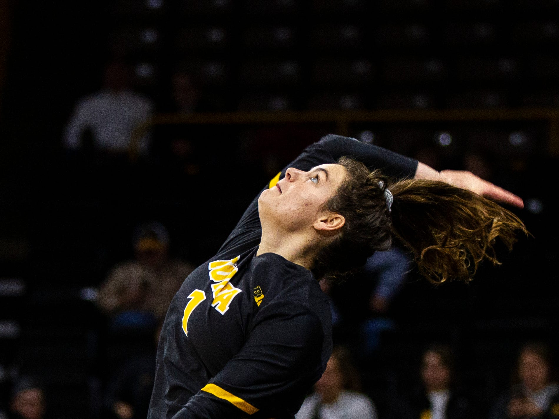 Iowa defensive specialist Molly Kelly (1) serves during an NCAA volleyball game on Wednesday, Nov. 7, 2018, at Carver-Hawkeye Arena in Iowa City.