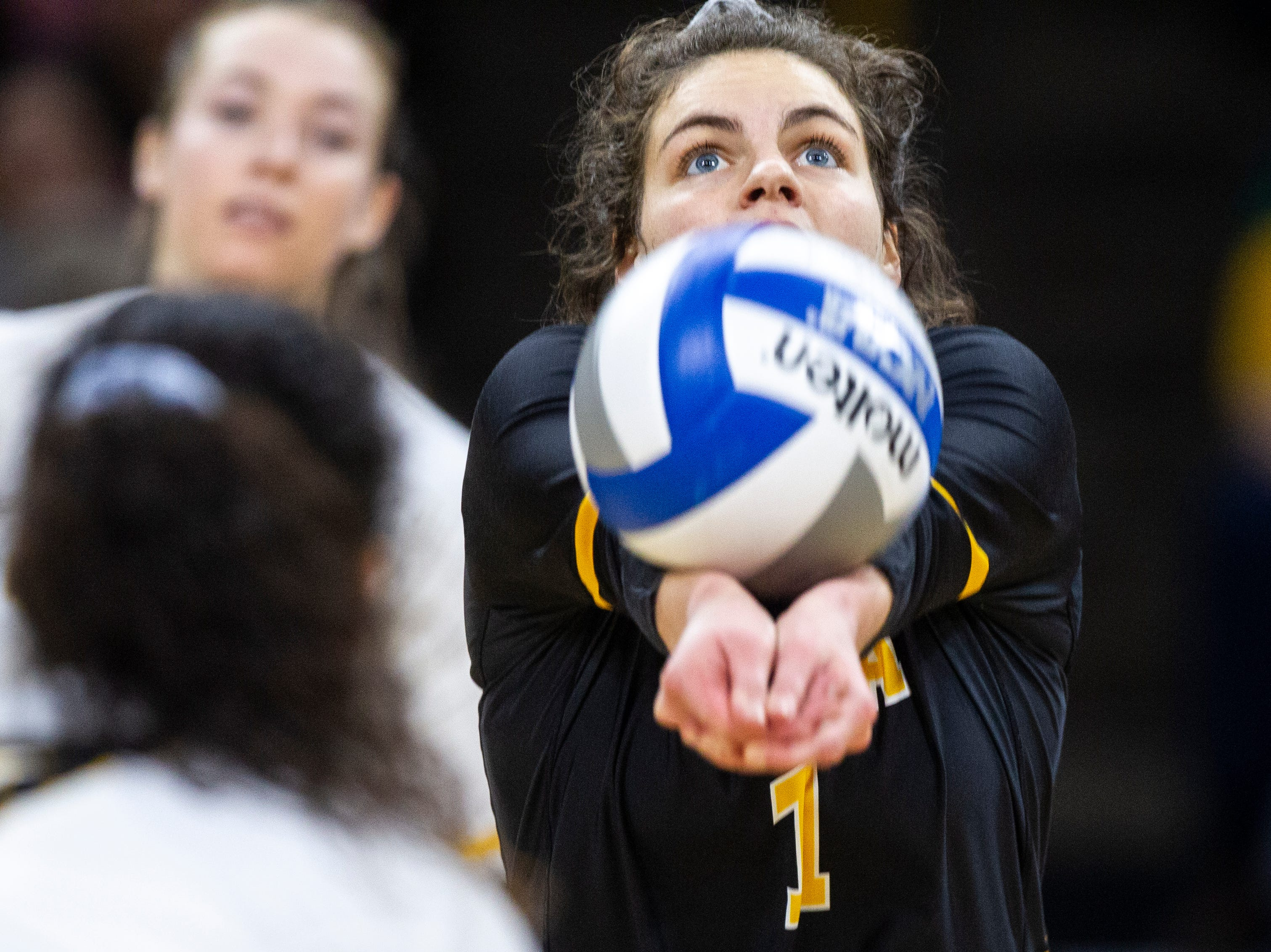 Iowa defensive specialist Molly Kelly (1) gets a dig during an NCAA volleyball game on Wednesday, Nov. 7, 2018, at Carver-Hawkeye Arena in Iowa City.