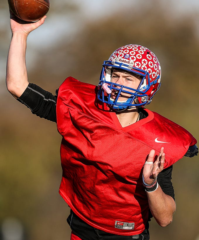 Stars quarterback Spencer Wright (7) passes during practice at Western Boone Junior-Senior High School in Thornton, Ind., Wednesday, Nov. 7, 2018. Western Boone faces Scecina on Friday, Nov. 9, in the regional championship.