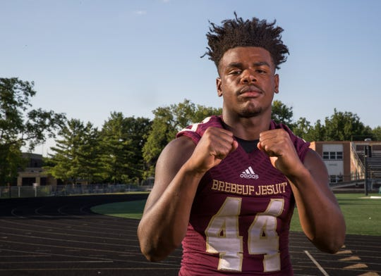 Jay Higgins made 20 tackles in Brebeuf Jesuit's sectional win last week.
