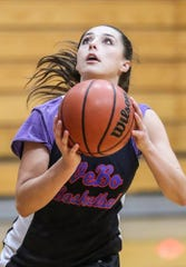 Senior Madison Jones practices with teammates at Western Boone Junior-Senior High School in Thornton, Ind., Wednesday, Nov. 7, 2018. Jones recently scored 49 points in the Stars' season-opener, setting the girls career and single-game scoring record.