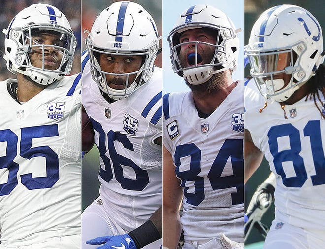 Indianapolis Colts tight ends (from left) Eric Ebron, Erik Swoope, Jack Doyle and Mo Alie-Cox. All have at least one touchdown catch in the first half of the 2018 season.