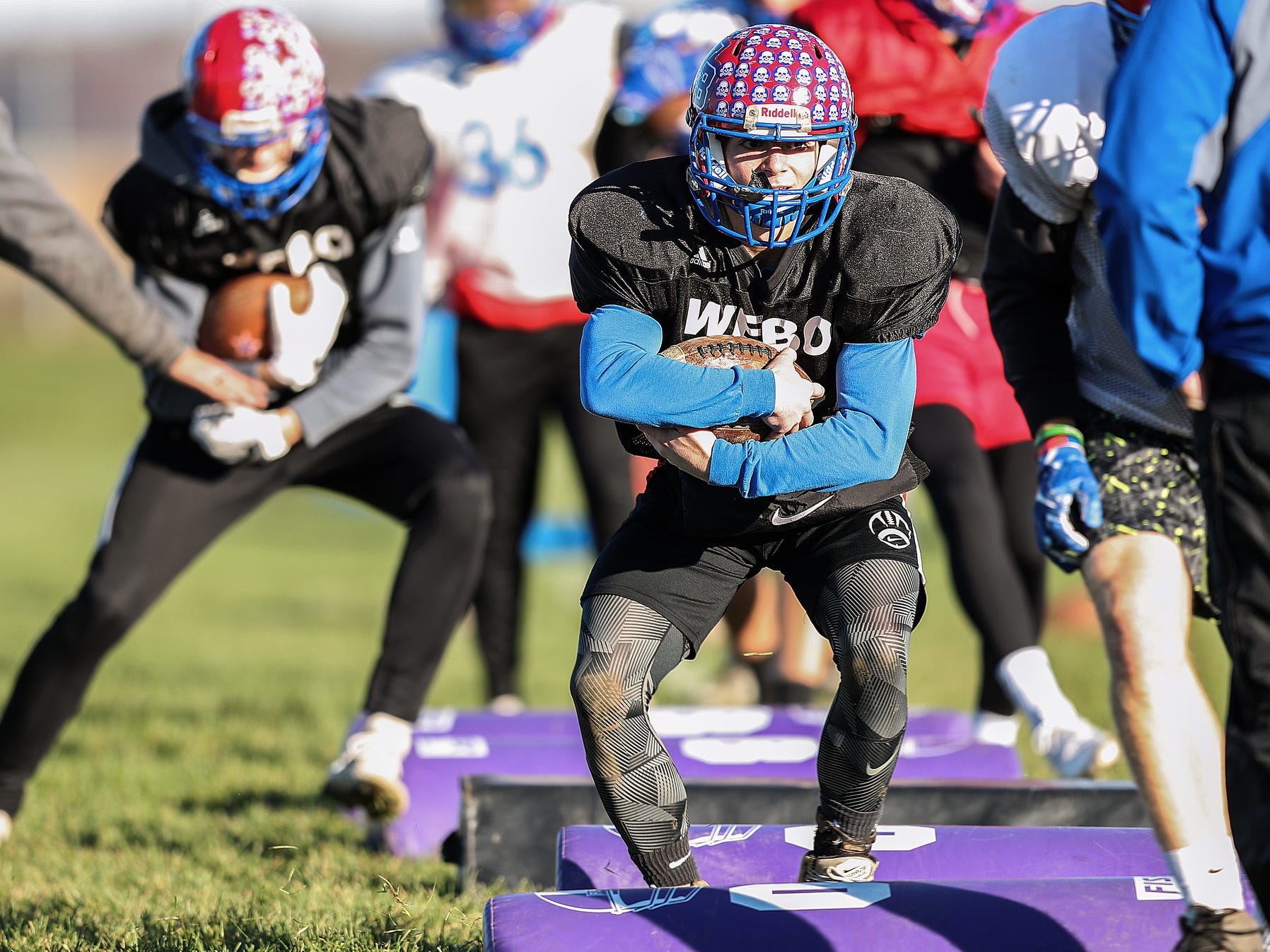 Stars linebacker Devin Weakley (2) runs a drill during practice at Western Boone Junior-Senior High School in Thornton, Ind., Wednesday, Nov. 7, 2018. Western Boone faces Scecina on Friday, Nov. 9, in the regional championship.