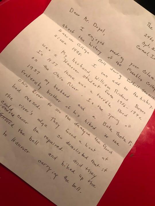 The letter from Marilyn Barnes to Gregg Doyel.