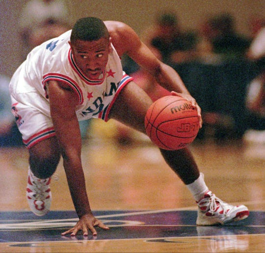 Indiana's Jack Owens Jr. retains his dribble as he dodges a trap during the first half of the Indiana-Kentucky high school all-star game June 24 1995 in Lexington, Ky.
