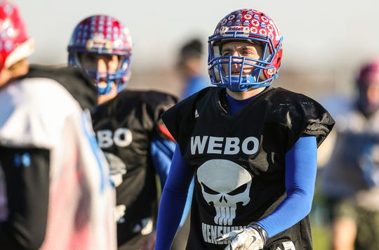 Peyton Young (18) moves across the field to change drills during practice at Western Boone Junior-Senior High School in Thornton, Ind., Wednesday, Nov. 7, 2018. Western Boone faces Scecina on Friday, Nov. 9, in the regional championship.