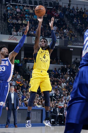 Victor Oladipo #4 of the Indiana Pacers shoots the ball against the Philadelphia 76ers on November 7, 2018 at Bankers Life Fieldhouse in Indianapolis, Indiana.