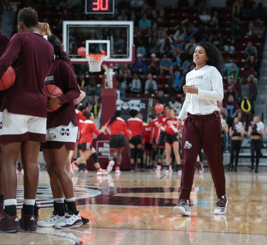 Mississippi State's Andra Espinoza-Hunter (right) joins her teammates in pre-game activities. Mississippi State opened the 2018-19 season against SE Missouri State on Tuesday, November 6, 2018 with Espinoza-Hunter on the bench. She was granted eligibility by the NCAA one day later. Photo by Keith Warren
