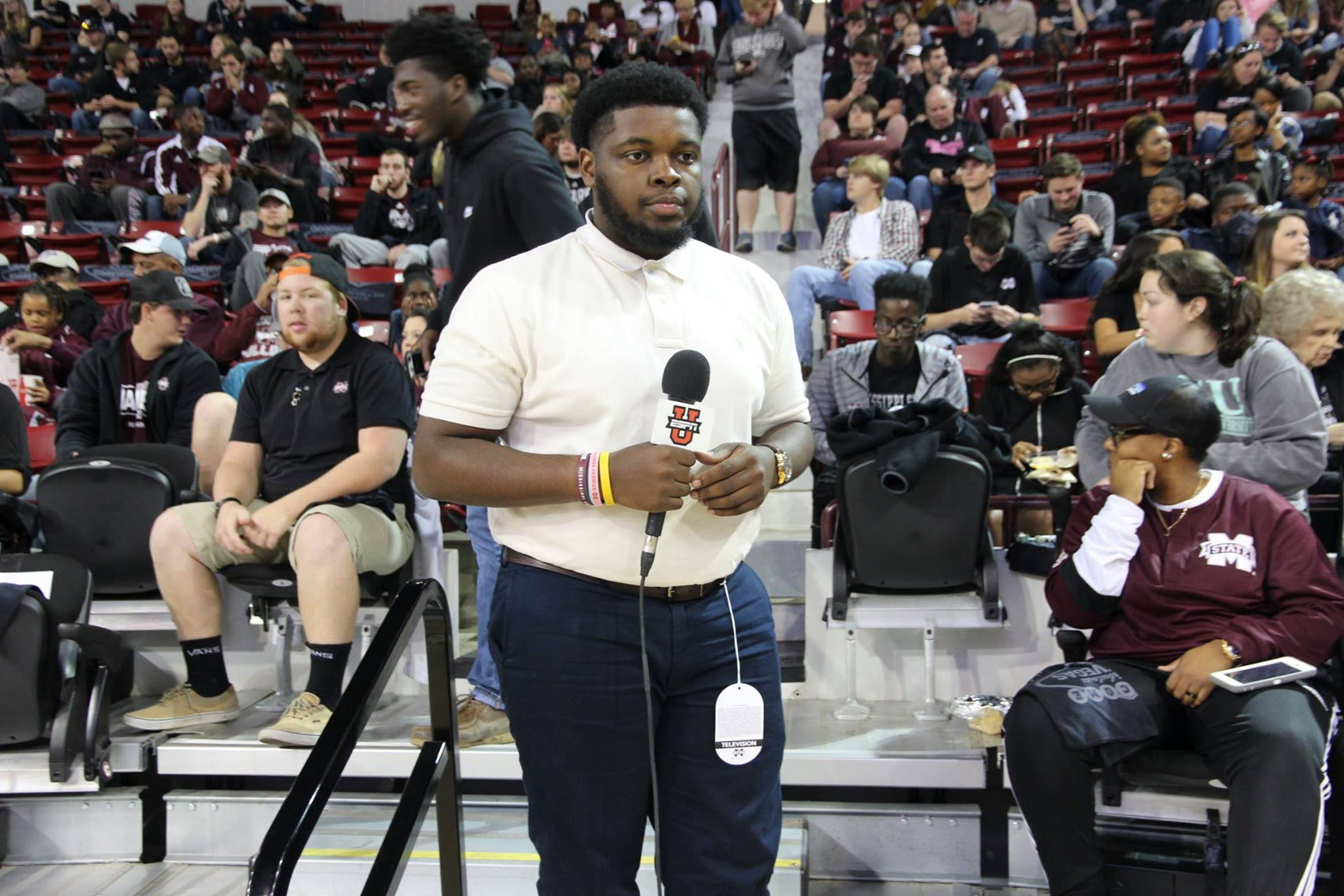 Ian Reed works for ESPNU during a Mississippi State basketball game. Reed graduated from Mississippi State in December 2016.
