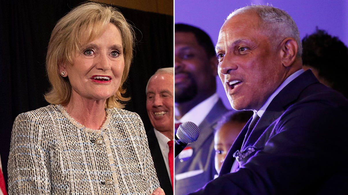 Sen. Cindy Hyde-Smith (left) and Mike Espy
