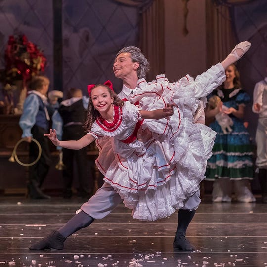 """The Appalachian Ballet's """"Nutcracker"""" performs in Knoxville and Maryville. Chicago-based dancer Jeff Wolfe plays toy maker Herr Drosselmeyer, who gives a Nutcracker to Clara, danced by Madelyn Barber."""