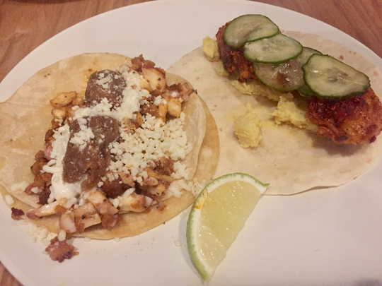 Options at Tako Taco include the Tako — octopus, chorizo, spiced tater tots, Cotija cheese and black cardamom raita on a corn tortilla; and the Predator — catfish cooked in hot-chicken spices with potato salad and pickles on a flour tortilla.