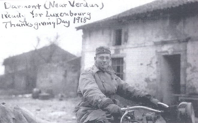 Harry Spring, a Purdue University alumnus, kept a diary during World War I. He rode a motorcycle while he was at Purdue and traveled this way during his service. Travel in the war zone was difficult.