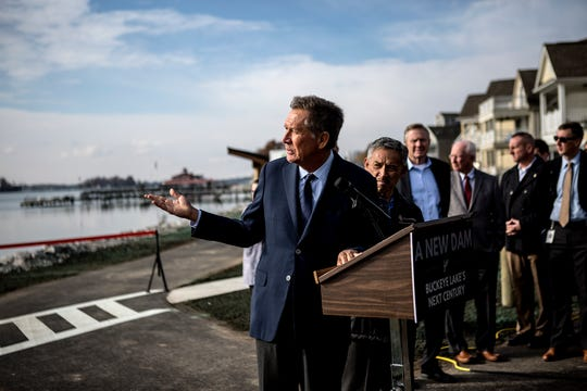 Governor John Kasich speaks at a ribbon cutting ceremony commemorating the end of construction on the dam.