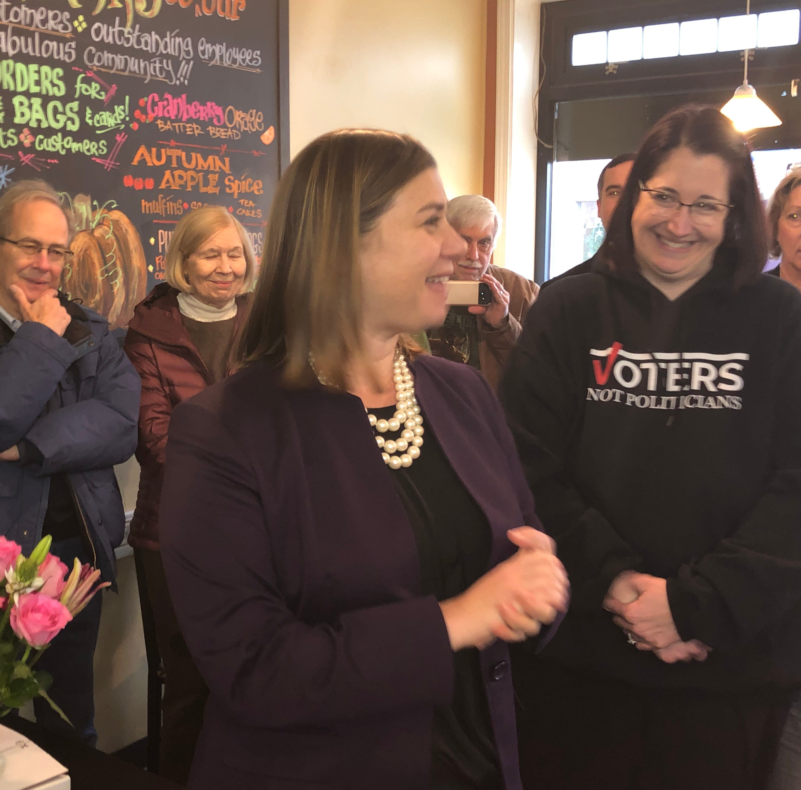 Elissa Slotkin meets with voters in Brighton, pledges to work for all despite losing county vote
