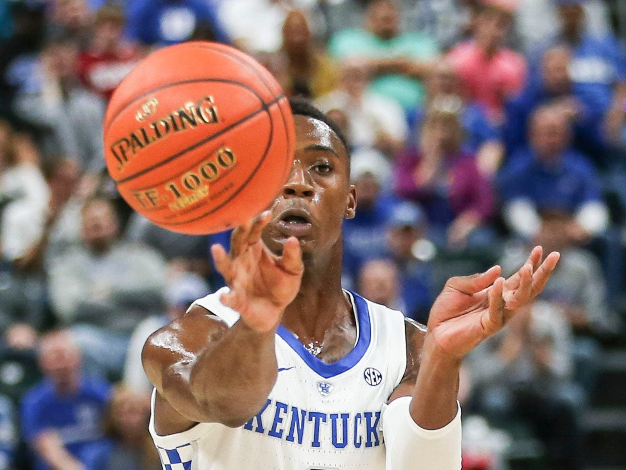 Kentucky's Ashton Hagans had two points and four assists with three turnovers in the Wilcats' 118-84 loss to Duke at the Champions Classic Nov. 6, 2018.