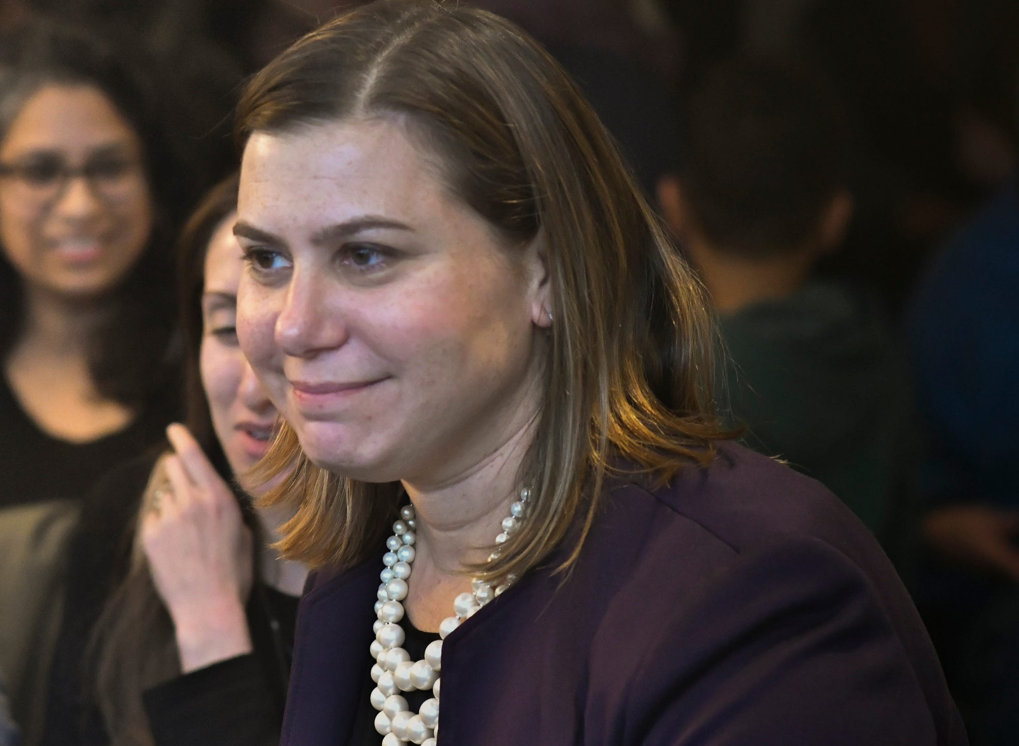 Michigan's 8th Congressional District Congresswoman-elect Elissa Slotkin meets with constituents Thursday, Nov. 8, 2018, at Strange Matter Coffee Co. in Lansing, Michigan.