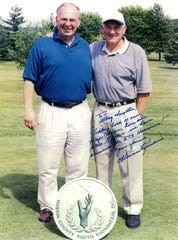"Greg Swepston, left, is pictured with Major League Baseball Hall of Fame member Harmon Killebrew one year at the Marion County Youth Foundation's Charity Celebrity Golf Outing fundraiser. The inscription to him on this picture reads, ""Adding both our Major League home run totals together, we have accumulated 573 homeruns!"" Besides being a coach, teacher and administrator at Marion Harding, Swepston worked for decades as a pro baseball scout."