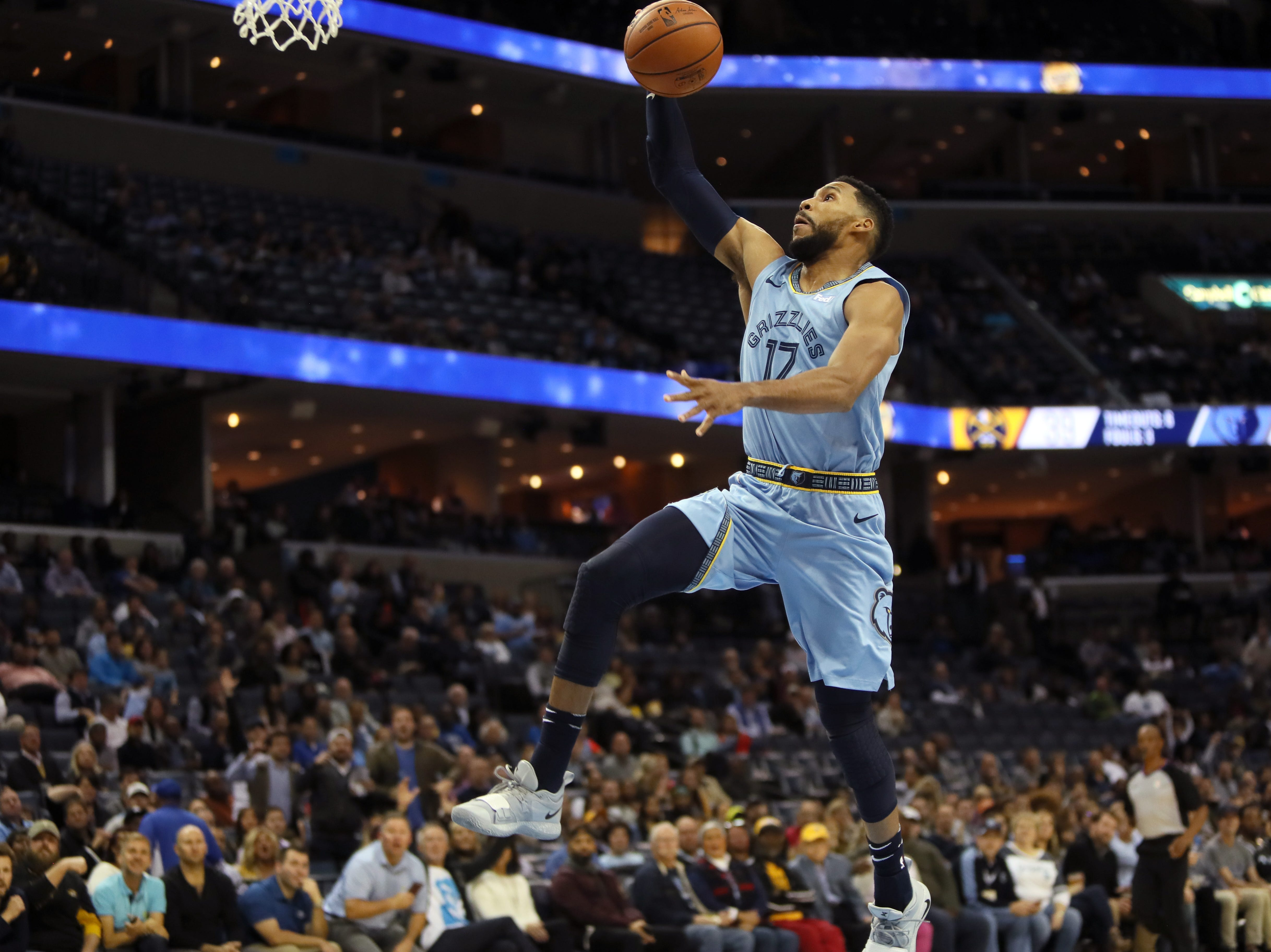 Memphis Grizzlies guard lays the ball up against Denver Nuggets guard during their game at the FedExForum on Wednesday, November 7, 2018.