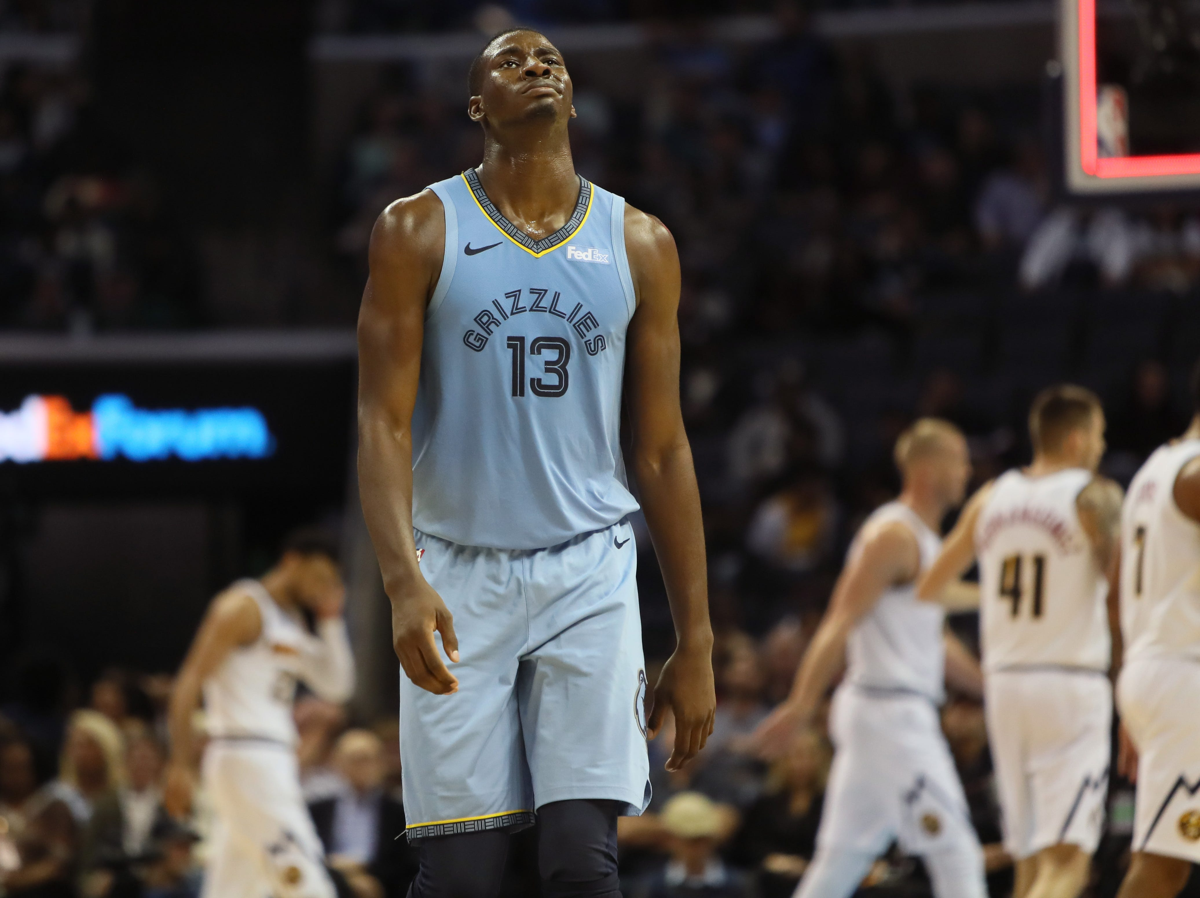 Memphis Grizzlies forward Jaren JAckson walks off the court after the team misses a third quarter field goal to end the period against the Denver Nuggets guard during their game at the FedExForum on Wednesday, November 7, 2018.