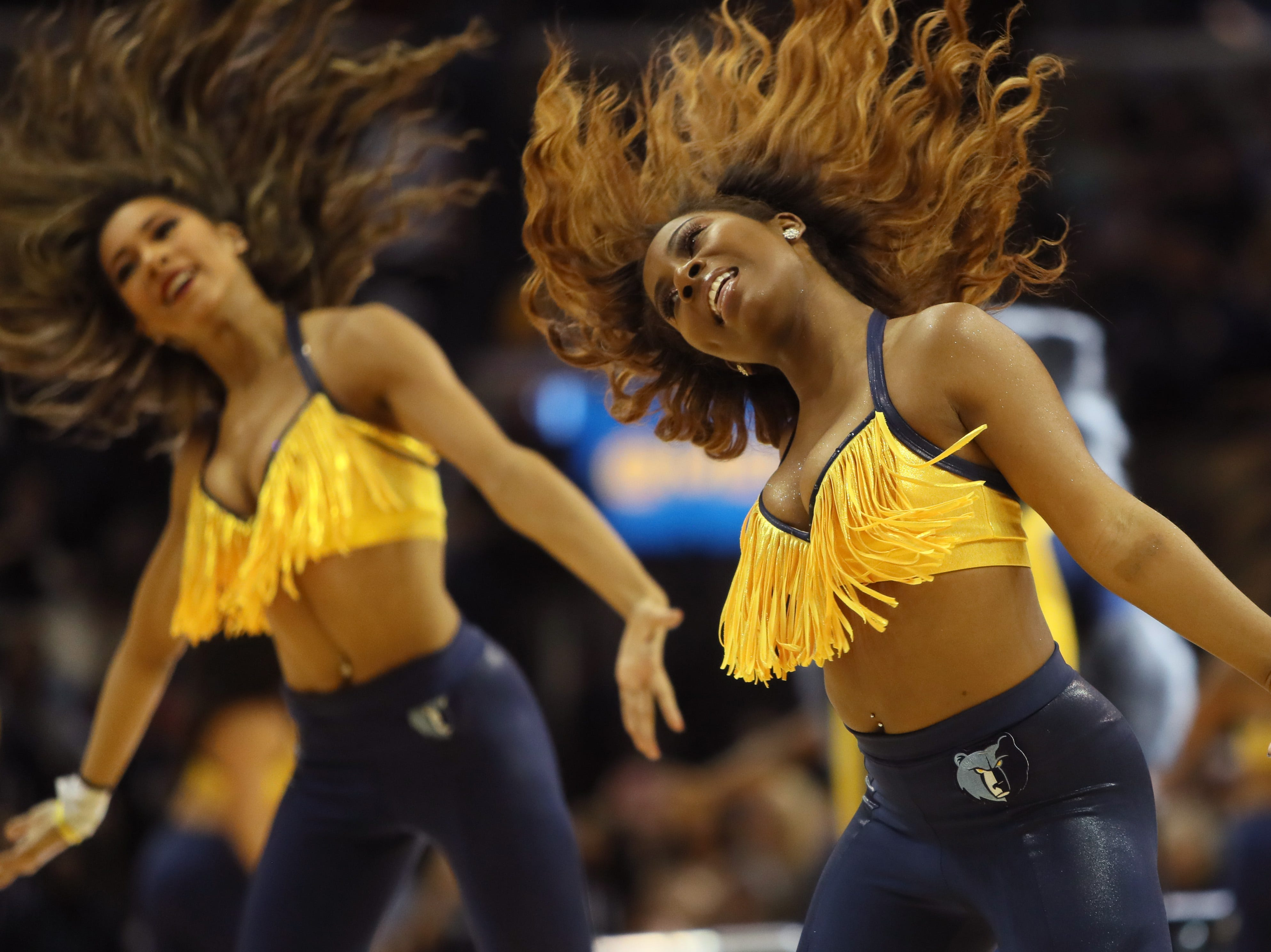 The Grizz Girls perform during the Memphis Grizzlies game against the Denver Nuggets at the FedExForum on Wednesday, November 7, 2018.