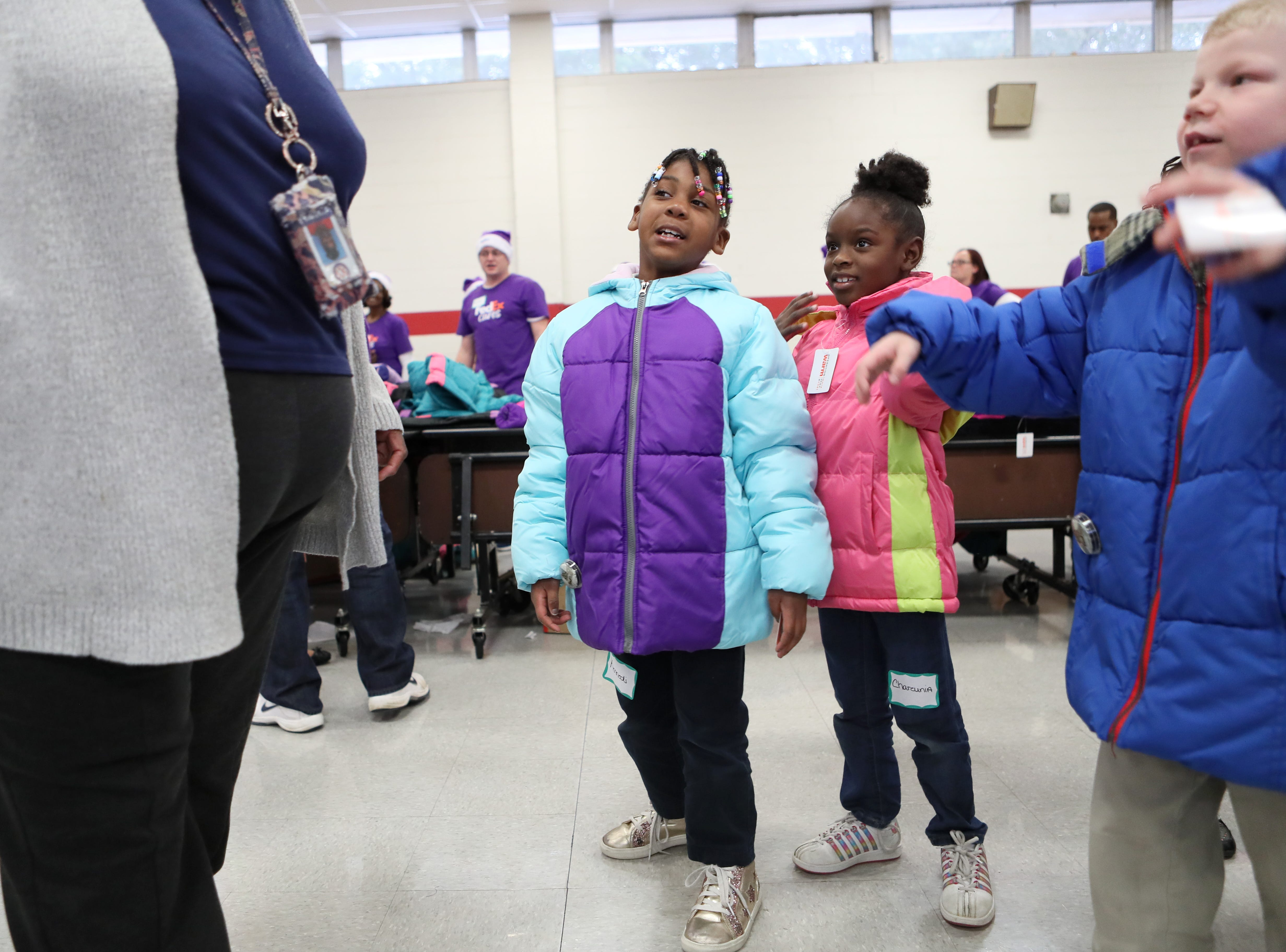 FedEx, the Memphis Grizzlies and Operation Warm surprised children with new coats at Hawkins Mill Elementary School on Thursday, Nov. 8, 2018.