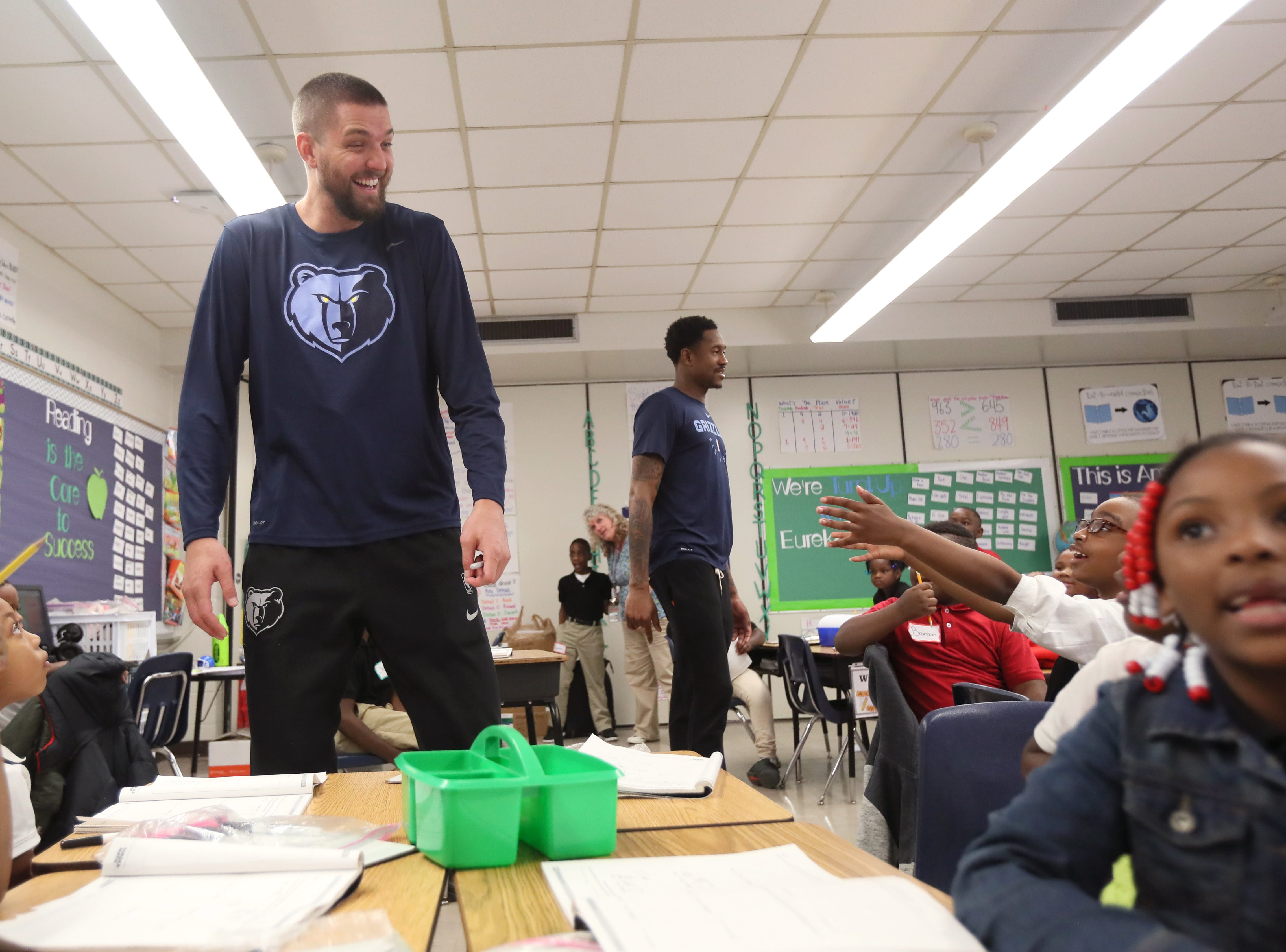 Memphis Grizzlies Chandler Parsons surprises a classroom as his team, FedEx and Operation Warm surprise children with new coats at Hawkins Mill Elementary School on Thursday, Nov. 8, 2018.