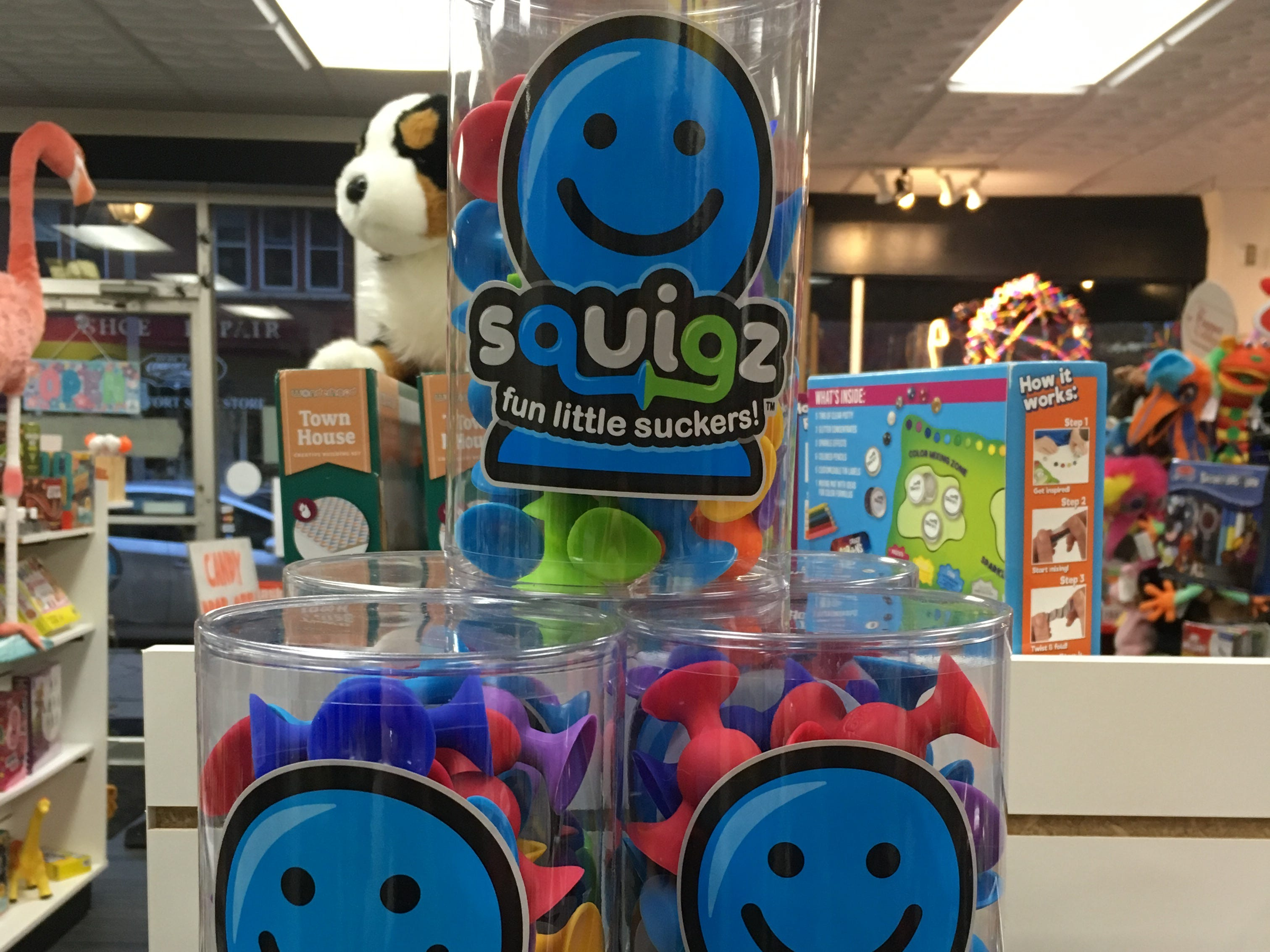 A fun building toy for younger kids is Squigz, little suction cups that are sold at Ruckus and Glee in Wauwatosa.