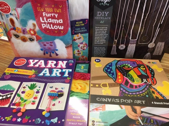 Fischerger's Variety Store sells a variety of arts and crafts kits, fun ways for kids to learn a variety of skills.