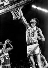 Kareem Abdul-Jabbar plays for the Milwaukee Bucks during the 1973 season.