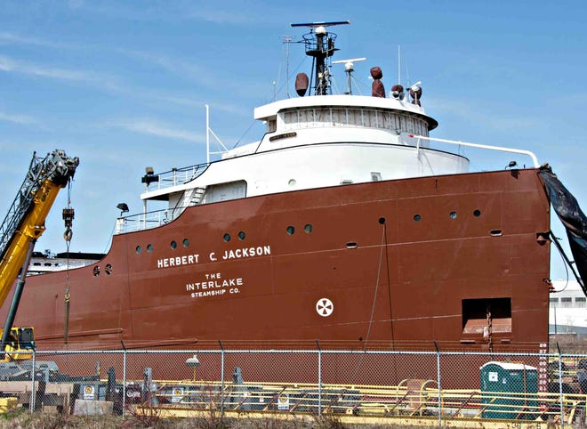 Great Lakes freighter Herbert C. Jackson was retrofitted with new engines at Fraser Shipyard in Superior.