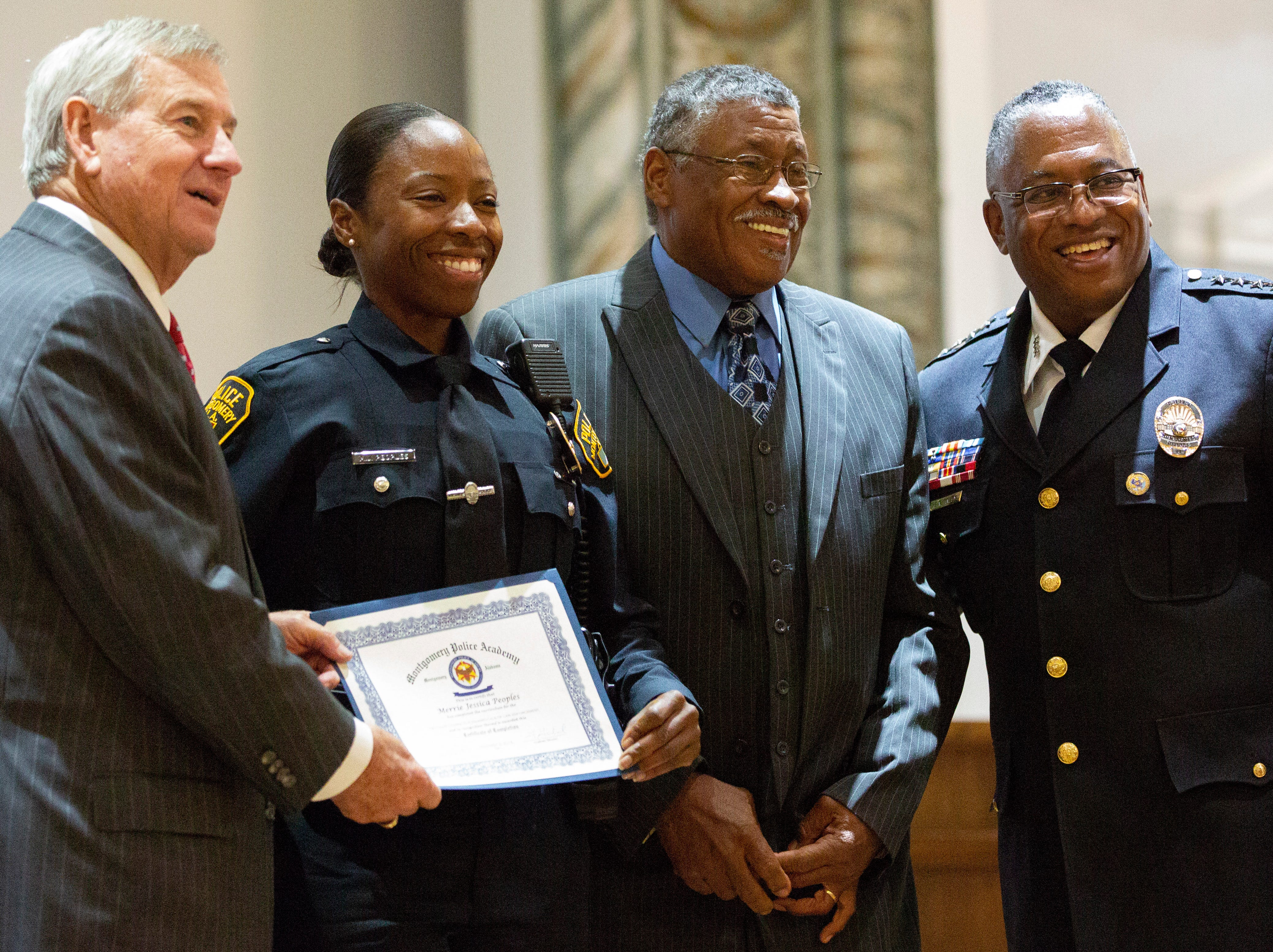 Montgomery police officer Merrie Peoples poses for a photo after graduating from the academy.
