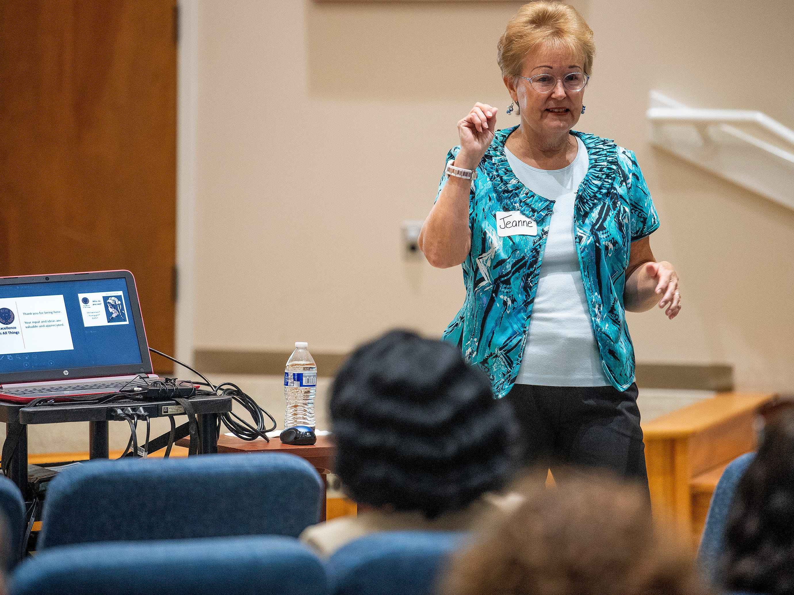 Jeanne Charbonneau leads the beginning session during a Community Charrette held to discuss BTW Magnet School plans on Thursday November 8, 2018 at Aldersgate United Methodist Church in Montgomery, Ala.