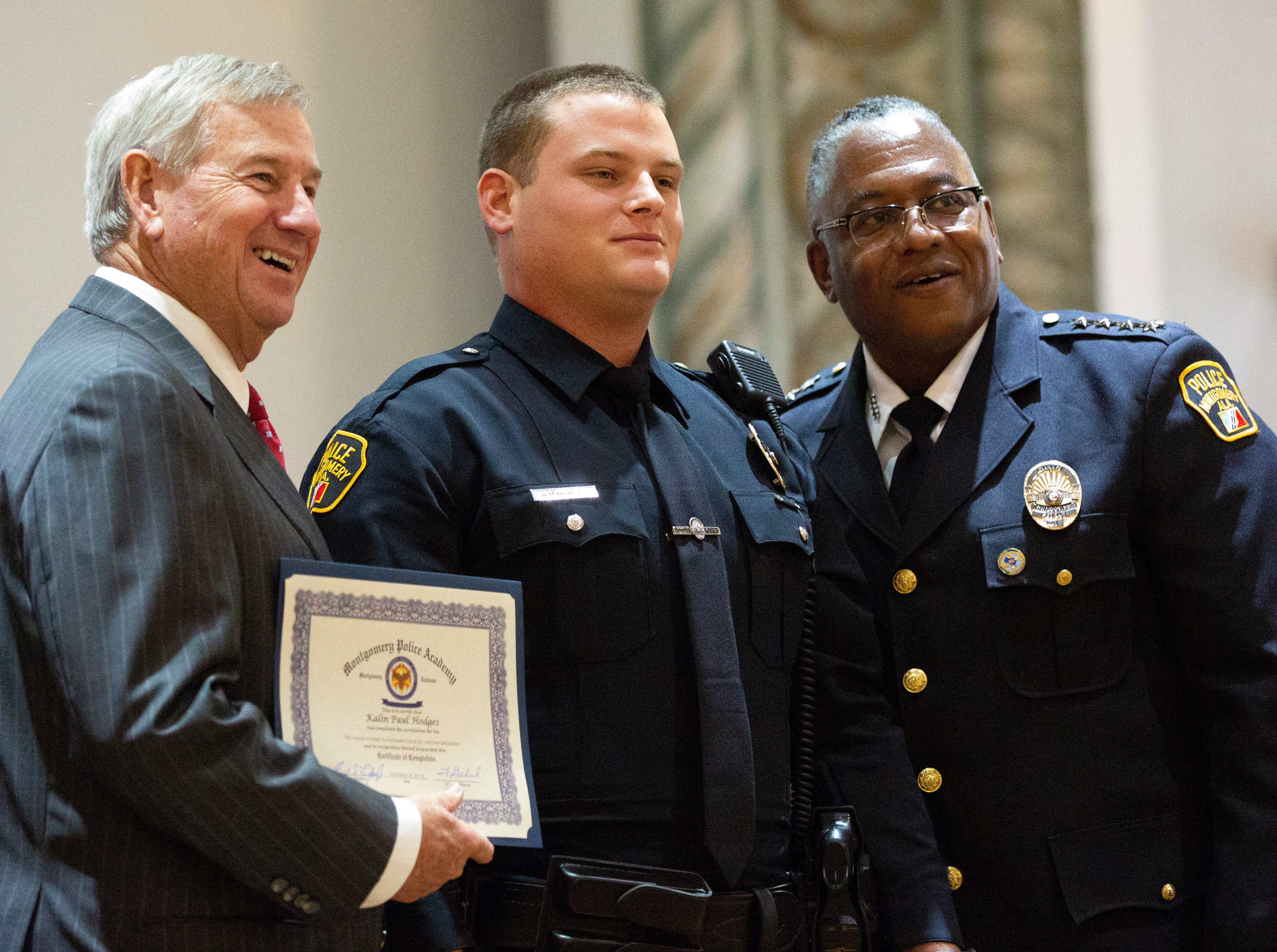 Montgomery police officer Kalin Hodges poses for a photo after graduating from the academy.
