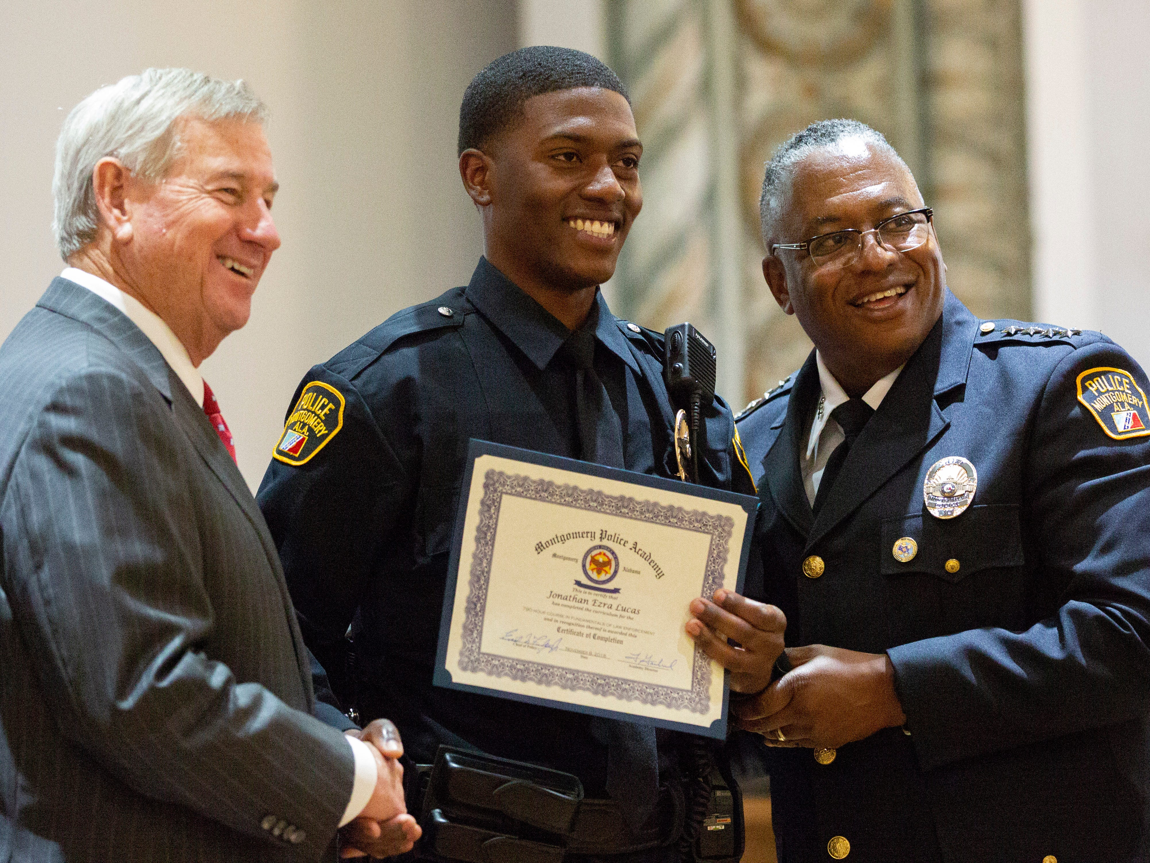 Montgomery police officer Jonathan Lucas poses for a photo after graduating from the academy.