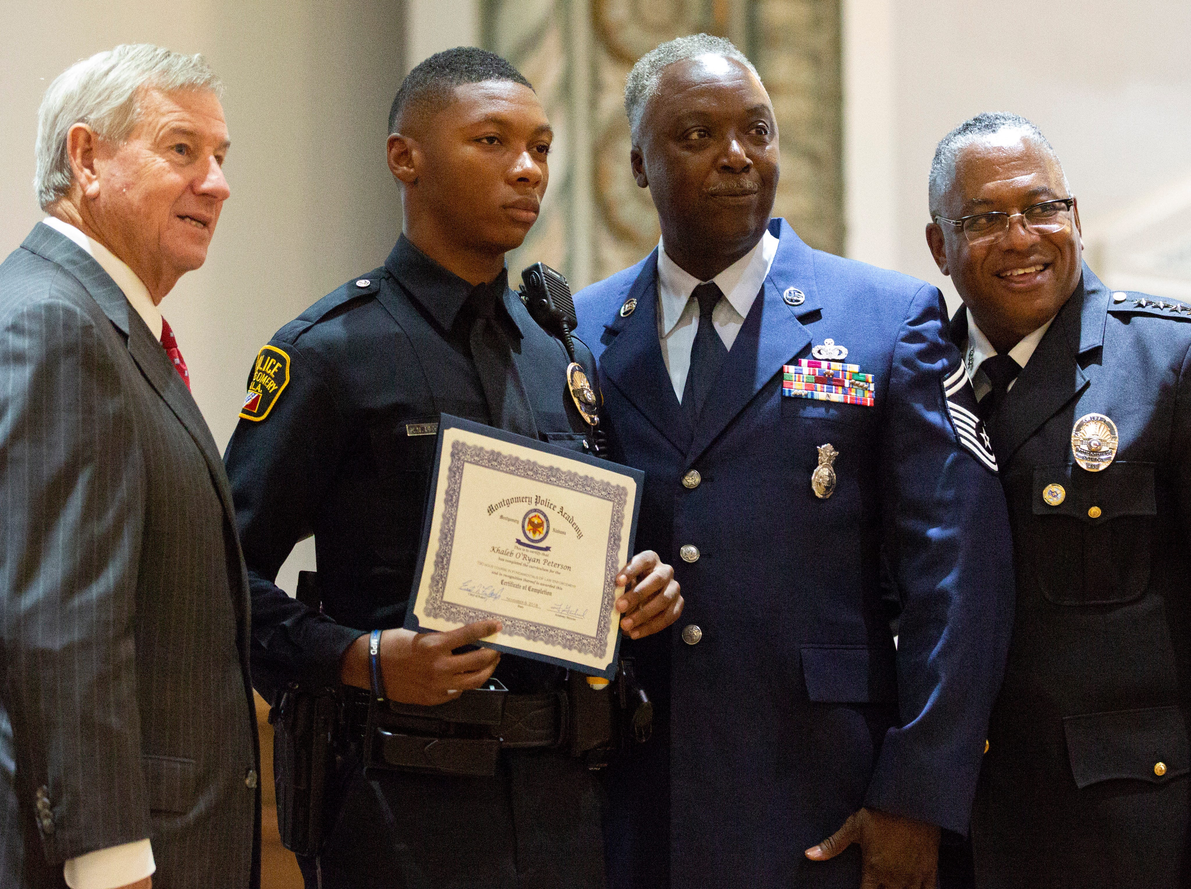 Montgomery police officer Khaleb Peterson poses for a photo after graduating from the academy.