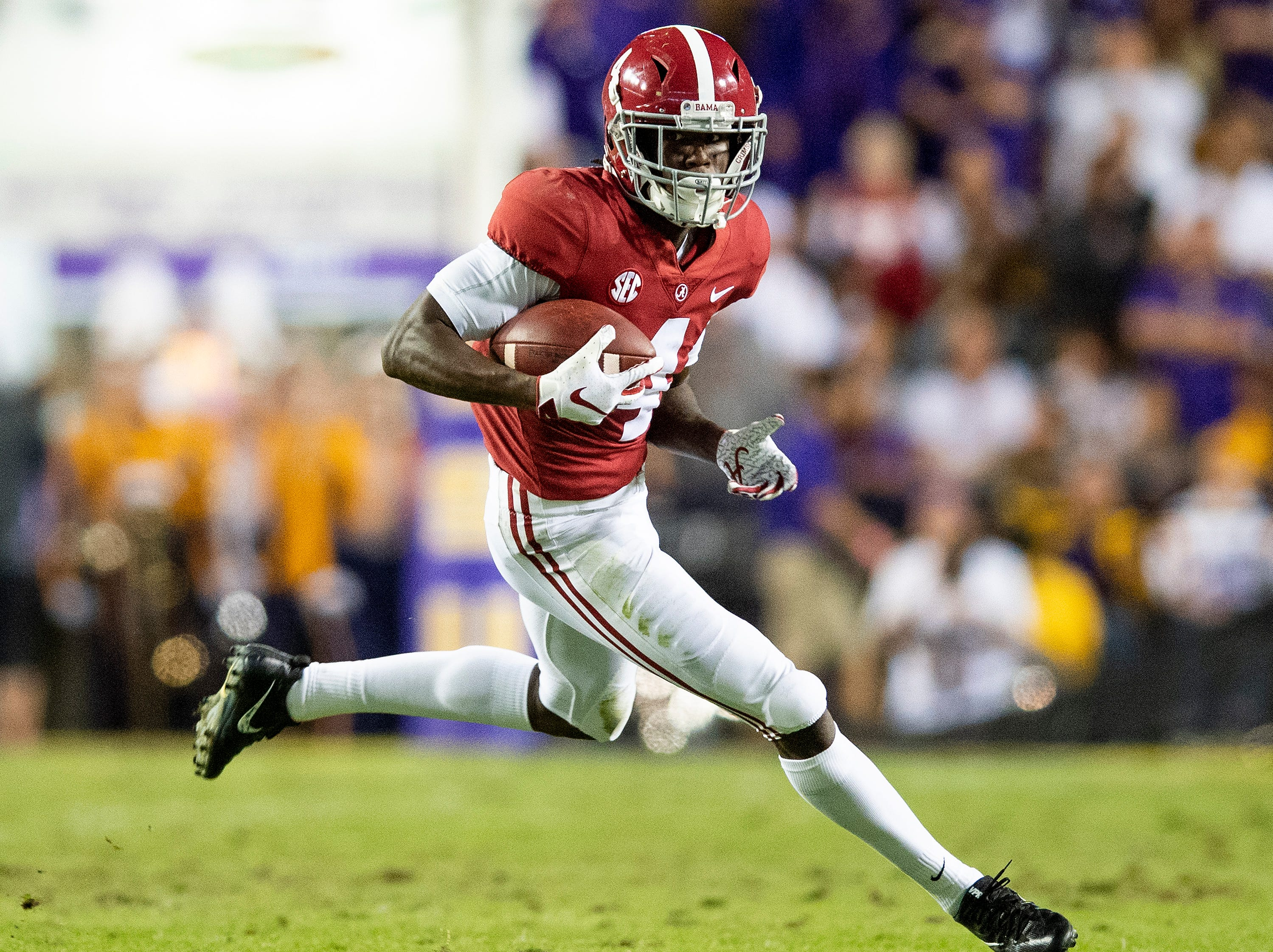Alabama wide receiver Jerry Jeudy (4) against LSU in first half action at Tiger Stadium in Baton Rouge, La., on Saturday November 3, 2018.