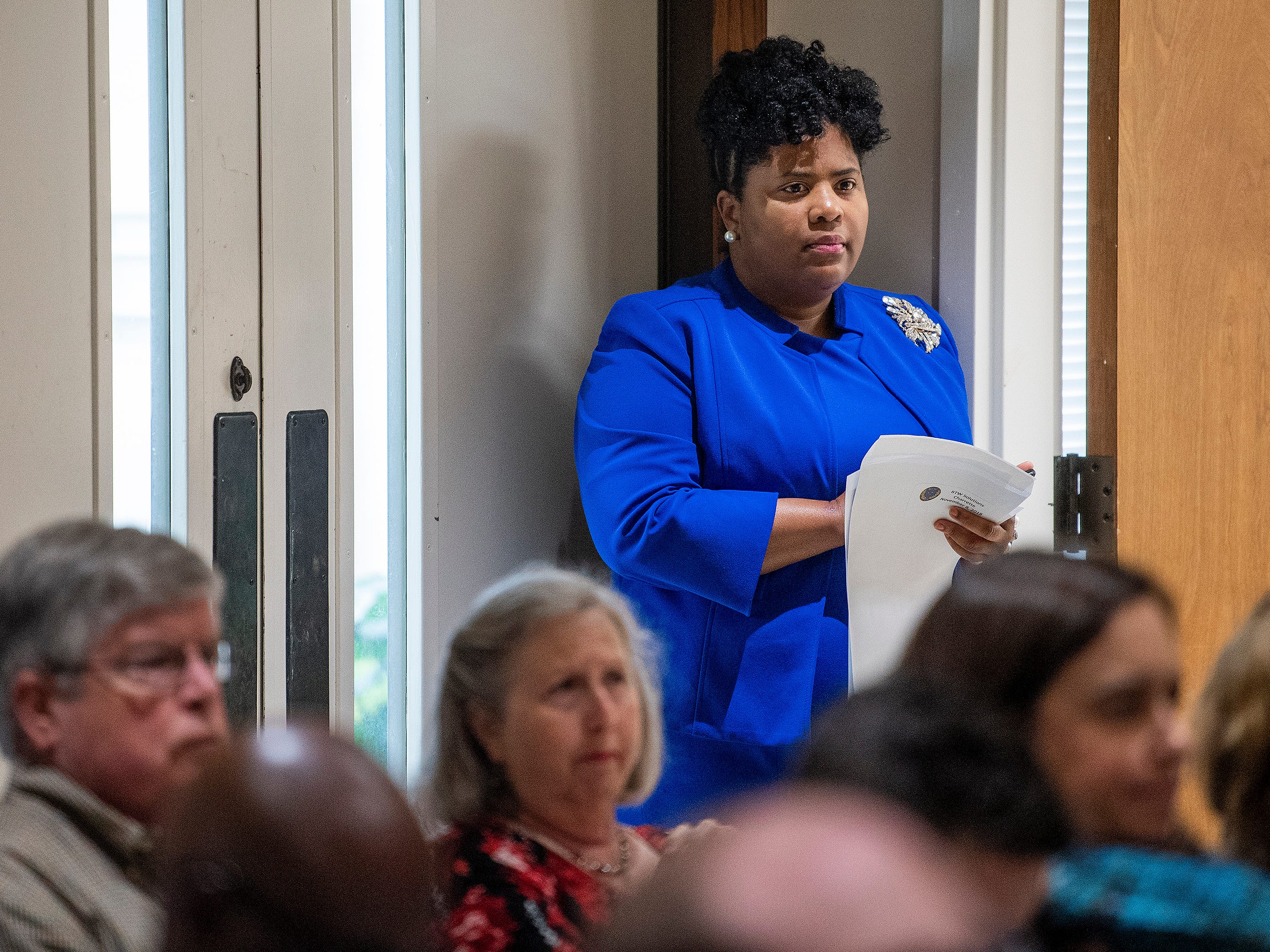 BTW Magnet High School principal Quesha Starks looks on during a Community Charrette held to discuss BTW Magnet School plans on Thursday November 8, 2018 at Aldersgate United Methodist Church in Montgomery, Ala.