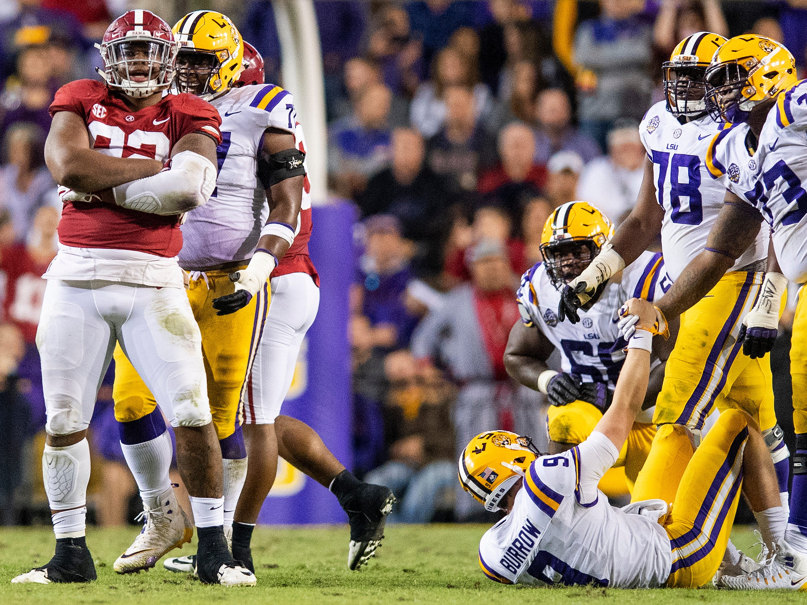 Alabama defensive lineman Quinnen Williams (92) after sacking Louisiana State University quarterback Joe Burrow (9) in second half action at Tiger Stadium in Baton Rouge, La., on Saturday November 3, 2018.