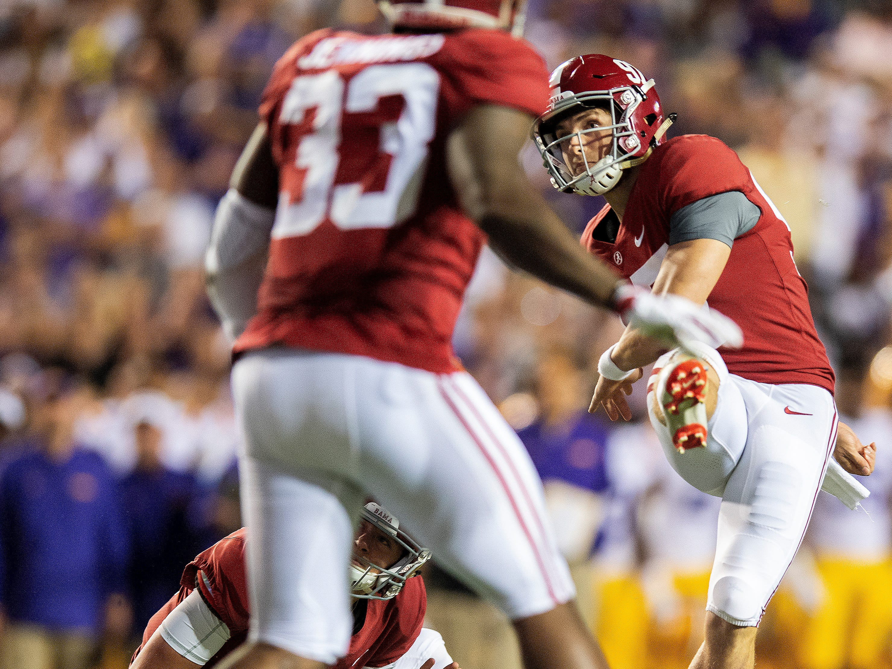 Alabama kicker Joseph Bulovas (97) kicks a field goal in first half action against LSU at Tiger Stadium in Baton Rouge, La., on Saturday November 3, 2018.