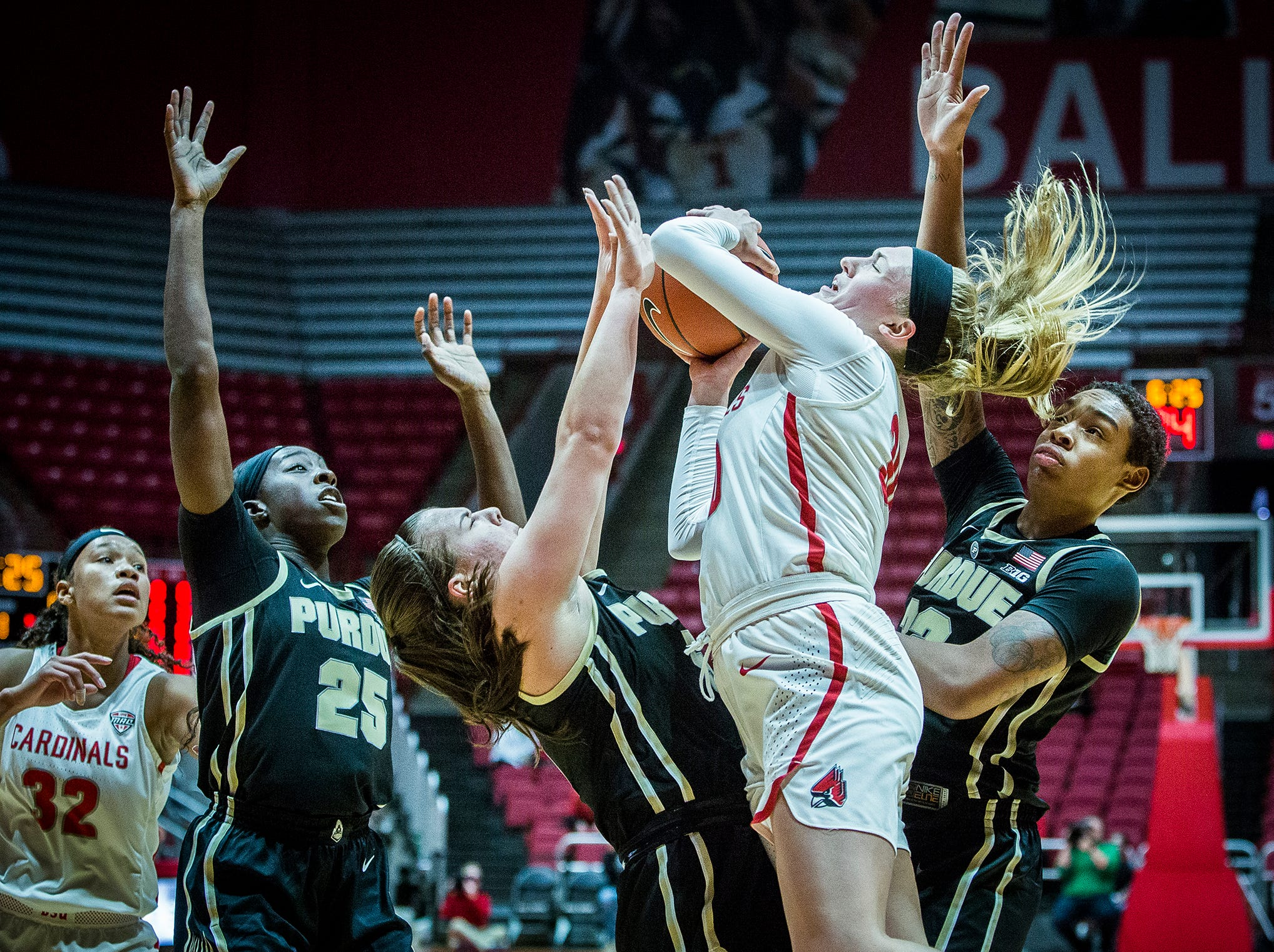 Ball State's Anna Clephane struggles against Purdue's defense during their game at Worthen Arena Wednesday, Nov. 7, 2018.