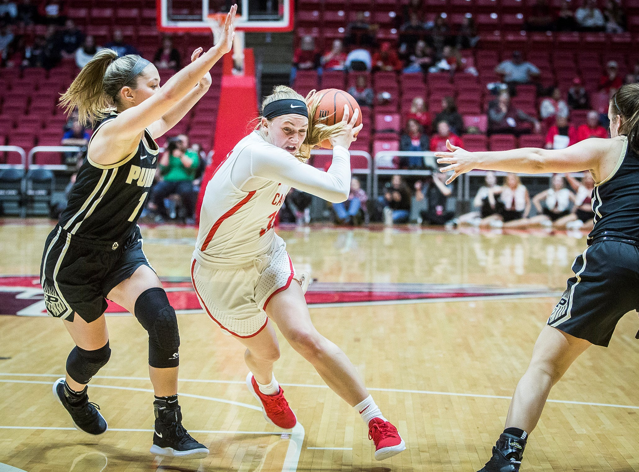Ball State's Anna Clephane slips past Purdue's defense during their game at Worthen Arena Wednesday, Nov. 7, 2018.