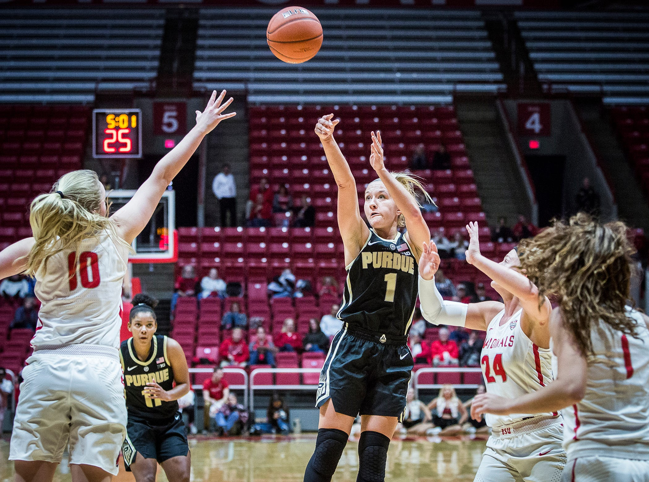 Purdue's Abi Haynes shoots past Ball State's defense during their game at Worthen Arena Wednesday, Nov. 7, 2018.